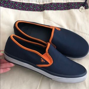 Tory Burch Navy Orange Slip On Sneakers